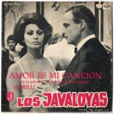 Discos de vinilo: LOS JAVALOYAS - AMOR ES MI CANCION / MARILU - LA VOZ DE SU AMO 1967. Lote 122986355