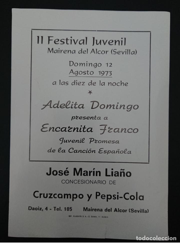 Discos de vinilo: MAIRENA DEL ALCOR, SEVILLA, II FESTIVAL JUVENIL 1973, ENCARNITA FRANCO - Foto 2 - 123032791