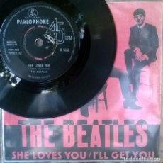 Discos de vinilo: BEATLES. SHE LOVES YOU/ I'LL GET YOU. PARLOPHONE, UK 1963 SINGLE + COPIA DE CUBIERTA. Lote 123068291