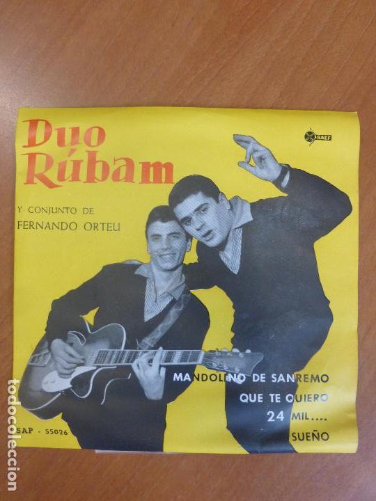 DÚO RÚBAM - MANDOLINO DE SANREMO / QUE TE QUIERO / 24 MIL ... / SUEÑO - EP SAEF - PERFECTO ESTADO (Música - Discos de Vinilo - EPs - Grupos Españoles 50 y 60)