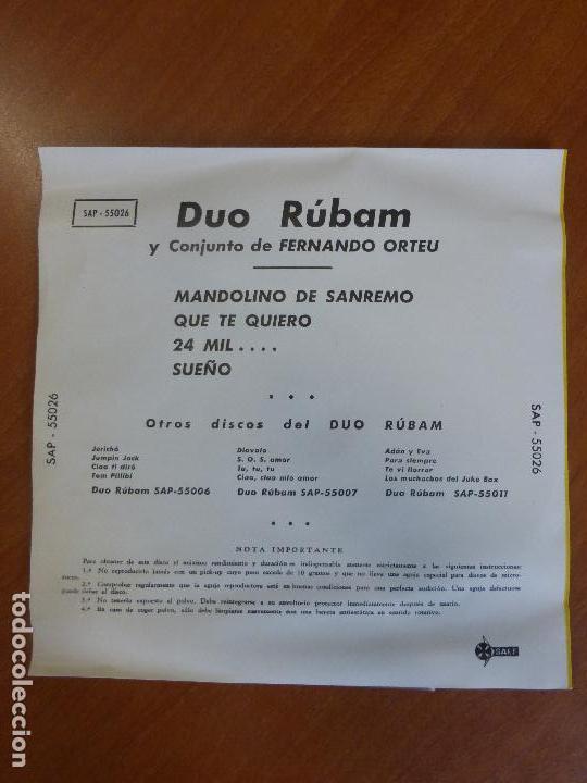 Discos de vinilo: Dúo Rúbam - Mandolino de sanremo / que te quiero / 24 mil ... / sueño - ep saef - Perfecto estado - Foto 2 - 123116079