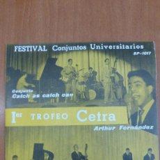 Discos de vinilo: FESTIVAL CONJUNTOS UNIVERSITARIOS - CATCH AS CATCH CAN / WOODY WALTER - PERFECTO ESTADO - AMARILLO -. Lote 123119319