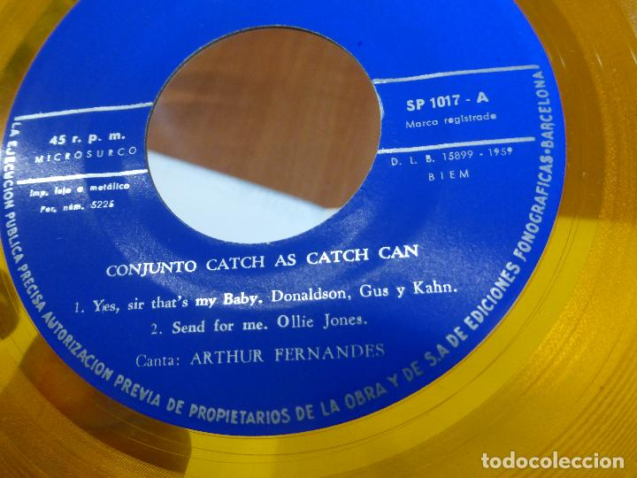 Discos de vinilo: FESTIVAL CONJUNTOS UNIVERSITARIOS - CATCH AS CATCH CAN / WOODY WALTER - perfecto estado - amarillo - - Foto 5 - 123119319