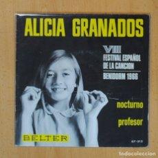 Discos de vinilo: ALICIA GRANADOS - NOCTURNO / PROFESOR - SINGLE. Lote 123127799