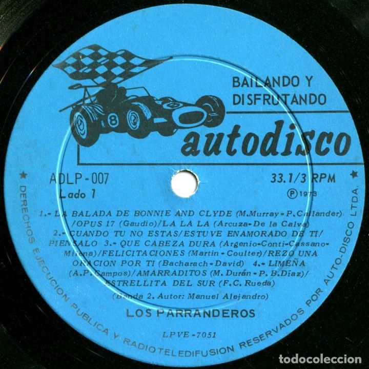 Discos de vinilo: Los Parranderos - Bailando y disfrutando - Lp Chile 1973 - Autodisco ADLP 007 - Foto 3 - 123421295