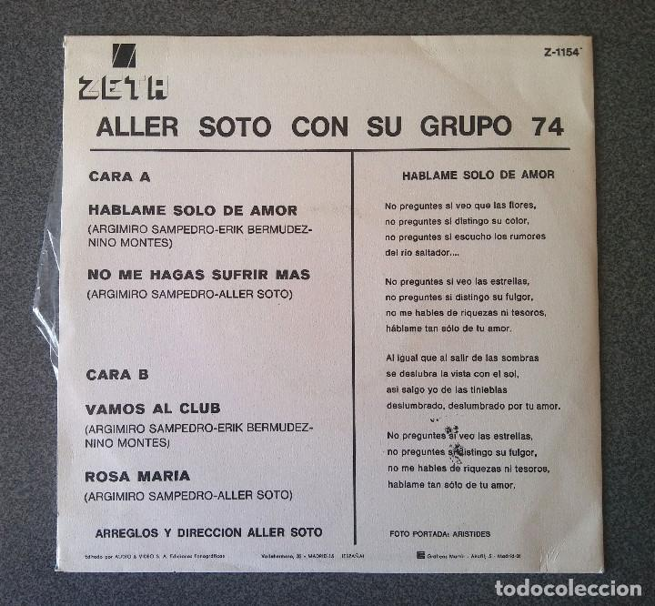 Discos de vinilo: Single Ep Aller Soto con su Grupo 74 - Foto 2 - 123522303
