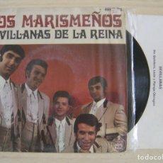 Discos de vinilo: LOS MARISMEÑOS - SEVILLANAS DE LA REINA - SINGLE + HOJA CON LAS LETRAS 1969 - HISPAVOX. Lote 123703443