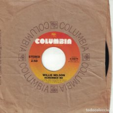 Disques de vinyle: WILLIE NELSON - REMEMBER ME / TIME OF THE PREACHER (SINGLE USA, COLUMBIA 1975). Lote 123990651