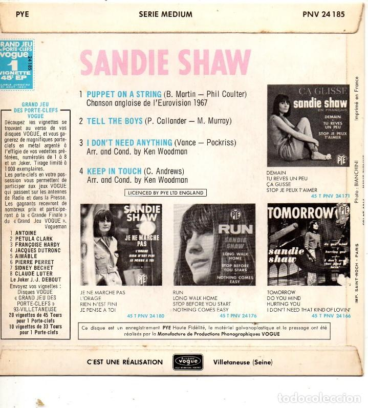 Discos de vinilo: SANDIE SHAW - EUROVISION 67 -, EP, PUPPET ON A STRING + 3, AÑO 1967 MADE IN FRANCE - Foto 2 - 124199251