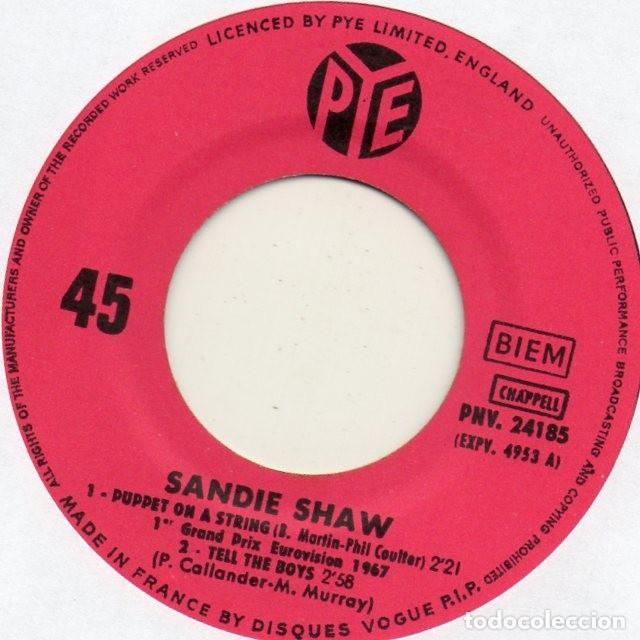 Discos de vinilo: SANDIE SHAW - EUROVISION 67 -, EP, PUPPET ON A STRING + 3, AÑO 1967 MADE IN FRANCE - Foto 3 - 124199251