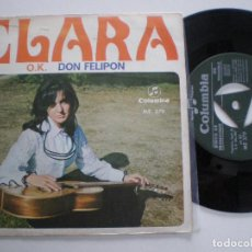 Disques de vinyle: CLARA - OK / DON FELIPON - SINGLE PROMO COLUMBIA 1968 // SOFT POP FOLK MANOLO DIAZ PEPE NIETO. Lote 124258523
