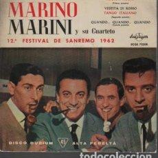 Discos de vinilo: DISCO MARINO MARINI - 12 FESTIVAL DE SANREMO 1962 DE DURUM ECGE 75208. Lote 124276307