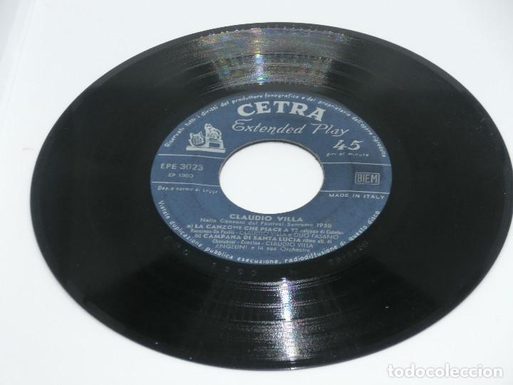 Discos de vinilo: SINGLE - CLAUDIO VILLA - NELLA CANZONI DEL FESTIVAL SAN REMO 1958 - FRAGOLE E CAPPELLINI (SIN FUNDA) - Foto 2 - 124331711