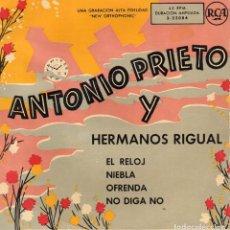 Discos de vinilo: ANTONIO PRIETO Y HERMANOS RIGUAL, EP, EL RELOJ + 3, AÑO 1959. Lote 124383703