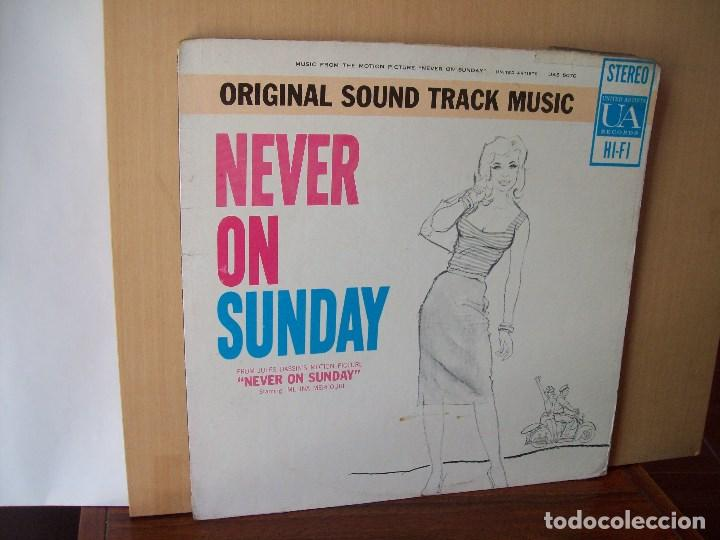NEVER ON SUNDAY - BANDA SONORA ORIGINAL - LP 1960 MADE IN USA CARPETA USADA Y COMO VIEJA (Música - Discos - LP Vinilo - Bandas Sonoras y Música de Actores )