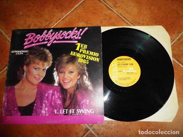 BOBBYSOCKS LET IT SWING / LA DET SWINGE FESTIVAL EUROVISION NORUEGA 1985 MAXI SINGLE VINILO 2 TEMAS (Música - Discos de Vinilo - Maxi Singles - Festival de Eurovisión)