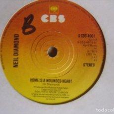 Discos de vinilo: NEIL DIAMOND BEAUTIFUL NOISE + HOME IS A WOUNDED HEART - SINGLE UK 1976 - CBS. Lote 124436551