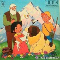 Discos de vinilo: HEIDI. HISTORIA COMPLETA CON LAS VOCES, CANCIONES Y DIBUJOS ORIGINALES... LP 1975. Lote 295725723