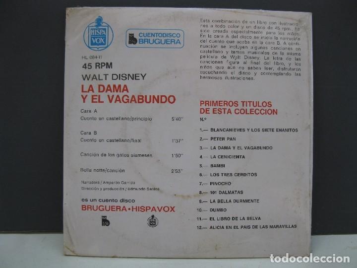 Discos de vinilo: CUENTODISCO BRUGUERA - Nº 3 - LA DAMA Y EL VAGABUNDO - CUENTO + DISCO - AÑO 1968 - NUEVO. - Foto 2 - 136387985