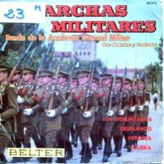 Discos de vinilo: MARCHAS MILITARES (BANDA DE LA ACADEMIA GENERAL MILITAR) / DESFILANDO + 3 (EP 1967). Lote 124587031