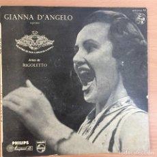 Discos de vinilo: GIANNA D´ANGELO. ARIAS DE RIGOLETTO. ORQ. TEATRO SAN CARLO DE NAPOLES 1958. Lote 124600867