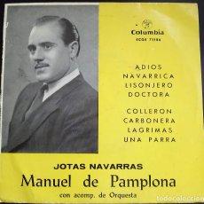Discos de vinilo: MANUEL DE PAMPLONA - JOTAS NAVARRAS - EP COLUMBIA, ESPAÑA, 1959. Lote 124620203