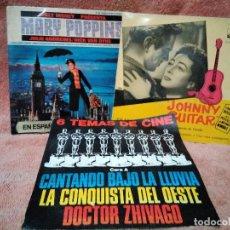 Discos de vinilo: TRES SINGLES DE FAMOSAS BANDAS SONORAS. Lote 124636795