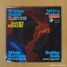 Discos de vinilo: WILMA GOICH / MILVA / MINO REITANO / BOBBY SOLO - PER VEDERE QUANTO E´ GRANDE IL MONDO + 3 - EP. Lote 124646543