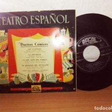 Discos de vinilo: TEATRO ESPAÑOL-DUETTOS COMICOS-LOS CLAVELES-LA DOLOROSA-LA DEL SOTO DEL PARRAL-EL HUESPED SEVILLANO-. Lote 124685707
