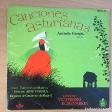 Discos de vinilo: CANCIONES ASTURIANAS (ANTONIO CAMPO) / DONDE ESTAN LOS CARBONEROS + 5 (EP 1958). Lote 124701835