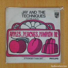 Discos de vinilo: JAY AND THE TECHNIQUES - APPLES, PEACHES, PUMPKIN PIE / STRONGER THAN DIRT - SINGLE. Lote 124931098
