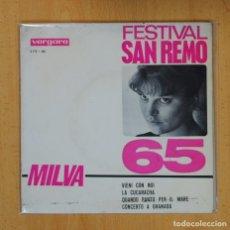 Discos de vinilo: MILVA - VIENI CON NOI + 3 - EP. Lote 124943298