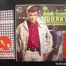 Discos de vinilo: JOHNNY HALLYDAY- DE DONDE VIENES JOHNNY? EP. Lote 125069355