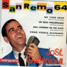Discos de vinilo: JOSE GUARDIOLA - FESTIVAL DE SAN REMO 64 . NO TIENE EDAD - EP VERGARA 1964. Lote 125189031