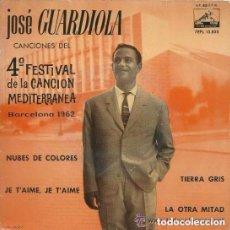 Discos de vinilo: JOSE GUARDIOLA - NUBES DE COLORES - 4 FESTIVAL MEDITERRANEA BARCELONA 1962. Lote 125189727