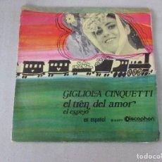 Discos de vinilo: GIGLIOLA CINQUETTI EL TREN DEL AMOR/ EL ESPEJO EN ESPAÑOL DISCOPHON 1969. Lote 125217371
