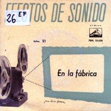 Discos de vinilo: EFECTOS DE SONIDO VOL.21 (EN LA FABRICA) EP 1959. Lote 125260723