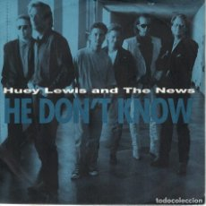 Discos de vinilo: HUEY LEWIS AND THE NEWS - HE DON'T KNOW / BUILD ME UP (SINGLE ALEMAN, EMI 1991). Lote 125280371