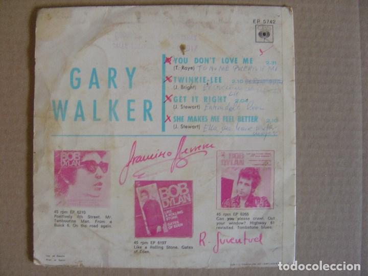 Discos de vinilo: GARY WALKER - you don´t love me - EP 1966 - CBS - Foto 2 - 125297987