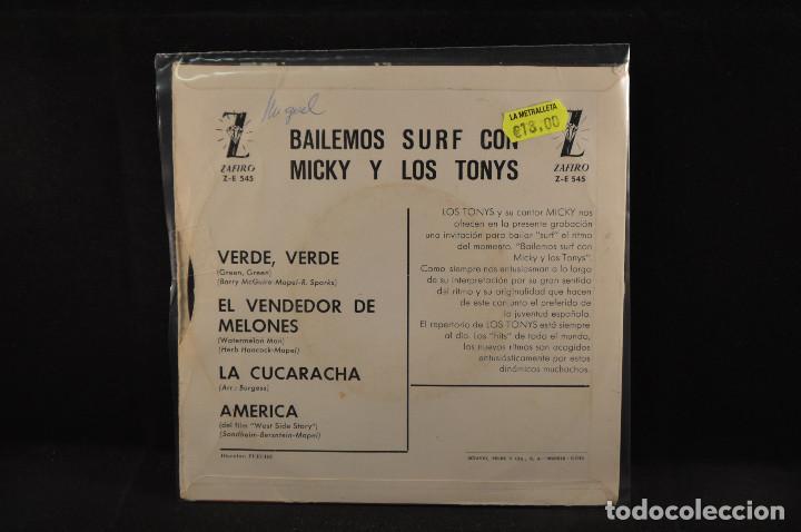 Discos de vinilo: MICKY Y LOS TONYS - VERDE VERDE +3 - EP - Foto 2 - 125324191