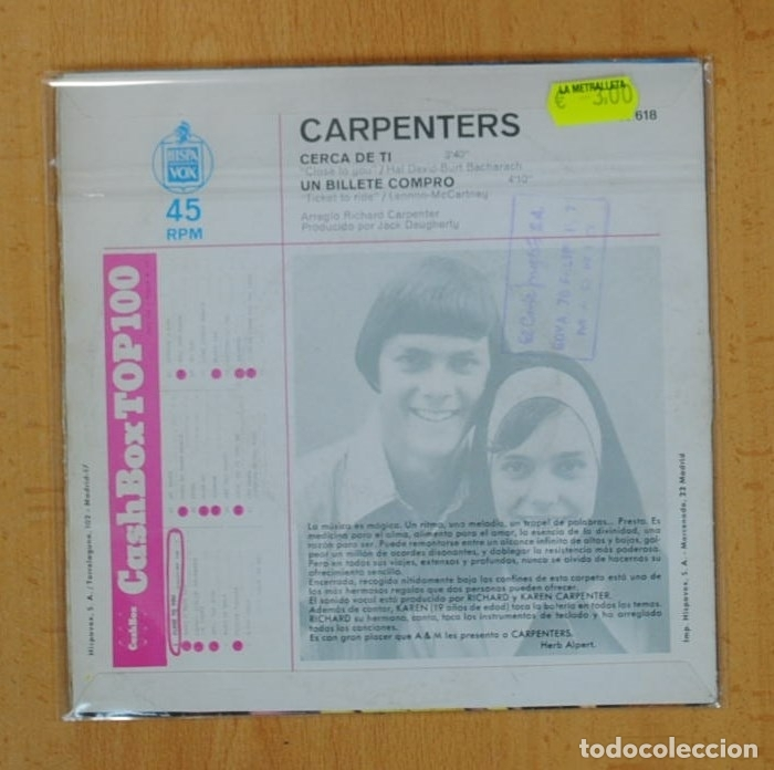 Discos de vinilo: CARPENTERS - CERCA DE TI / UN BILLETE COMPRO - SINGLE - Foto 2 - 125400110