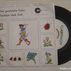 Discos de vinilo: COLETTE MESTON - DER GESTIEFELTE KATER + TISCHLEIN DECK DICH - SINGLE ALEMAN - CLARIPHON. Lote 125416027