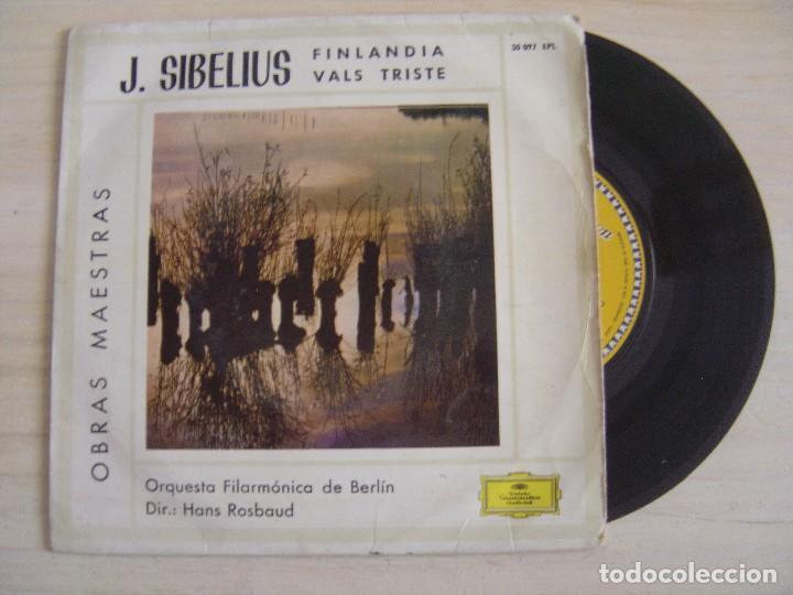 JEAN SIBELIUS, HANS ROSBAUD / BERLINER PHILHARMONIKER - FINLANDIA OP.26 NR.7 + VALSE TRISTE - SINGLE (Música - Discos - Singles Vinilo - Clásica, Ópera, Zarzuela y Marchas)