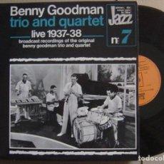 Discos de vinilo: BENNY GOODMAN TRIO & QUARTET - LIVE 1937-38 - LP FRANCES - CBS. Lote 125844315