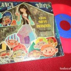 Discos de vinilo: BLANCA NIEVES Y LOS SIETE ENANITOS CUENTO INFANTIL 7'' 1960 DISCOPHON VINILO ROSA. Lote 125863787