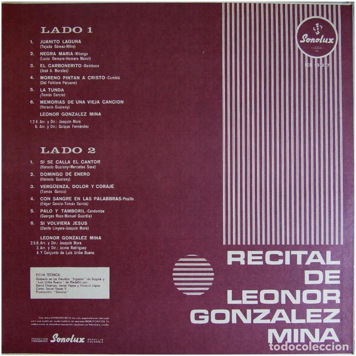 Discos de vinilo: Leonor Gonzalez Mina - Recital - Lp Colombia 1974 - Sonolux IES 13-937 - Foto 2 - 125902219
