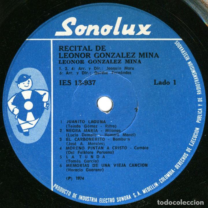Discos de vinilo: Leonor Gonzalez Mina - Recital - Lp Colombia 1974 - Sonolux IES 13-937 - Foto 3 - 125902219
