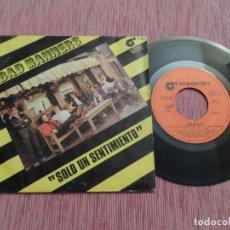 Discos de vinilo: BAD MANNERS - SOLO UN SENTIMIENTO. Lote 125956831