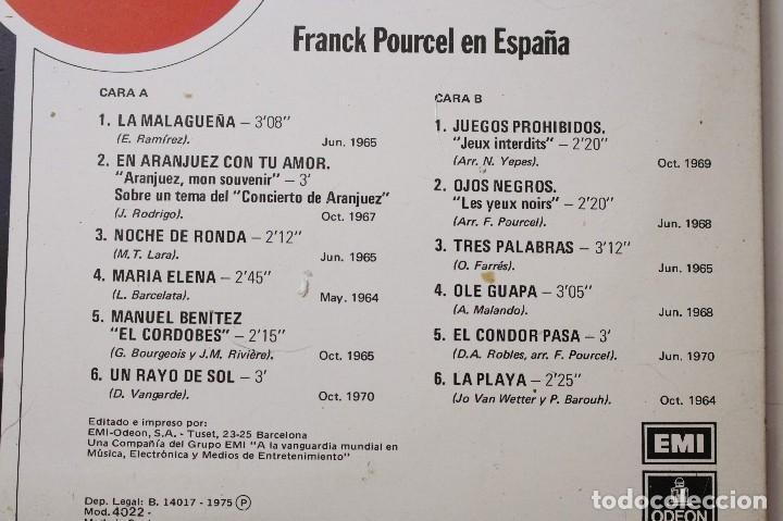 Discos de vinilo: 2 discos LPs Frank Pourcel Para todo el mundo y Frank Pourcel en España. EMI-Odeon, 1975 - Foto 5 - 125984119