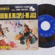 Discos de vinil: ORQUESTA FLORIDA, PALILLOS EMMA MALERAS Y SU CONJUNTO: LA MORENA DE MI COPLA; MI JACA. 1966. BELTER . Lote 126114539